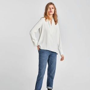 ZARA SHIRT WITH DRAPED NECKLINE